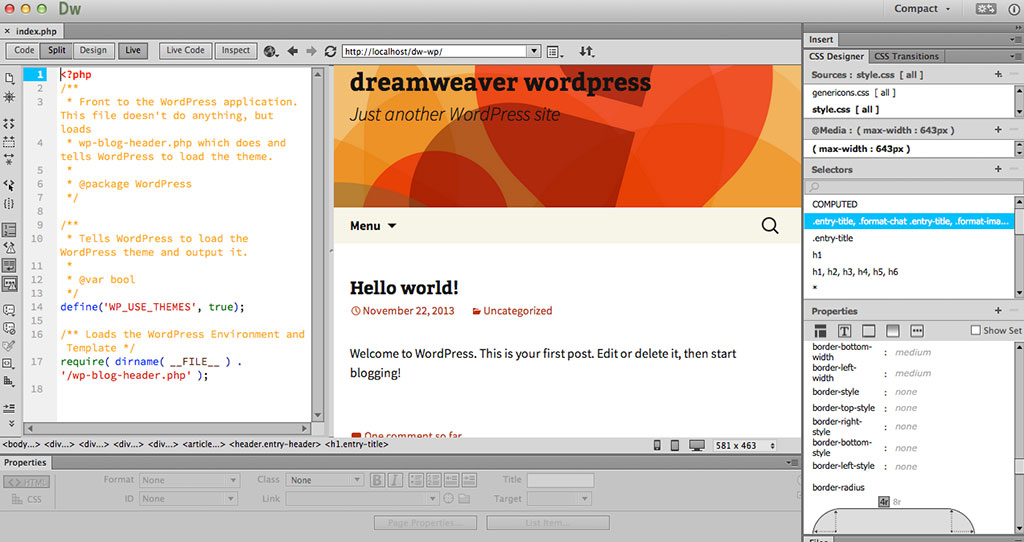 Σύνδεση wordpress & dreamweaver