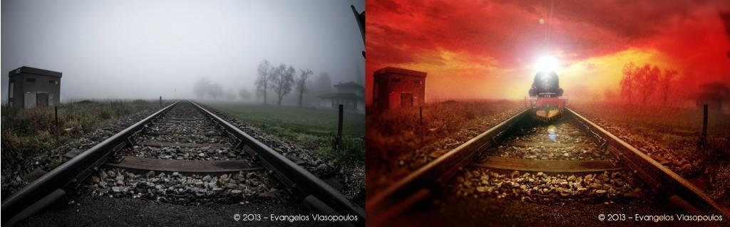 Red Train Dark Express   Μάθημα Photoshop - Πριν & Μετά