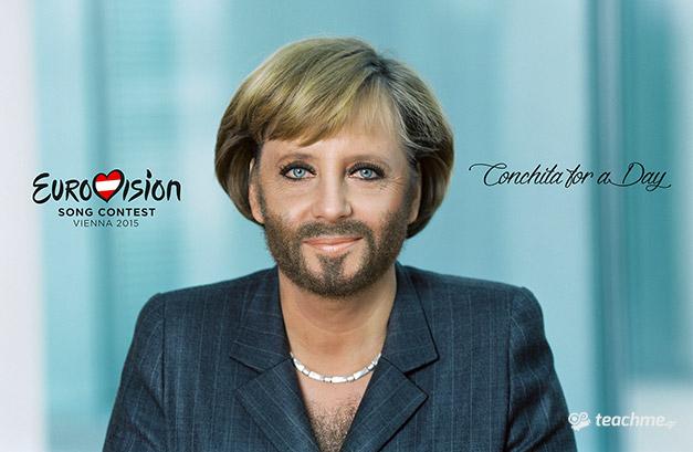 Γένια και Μούσια στο Photoshop - Χρήση της τεχνική σε γυναίκα (Angela Merkel)