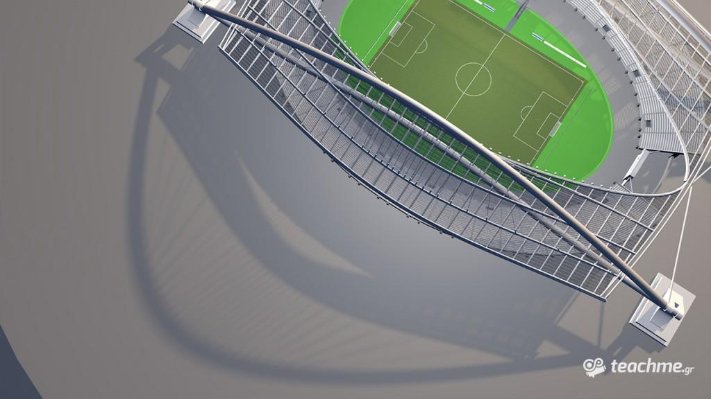 Το ποδοσφαιρικό ΟΑΚΑ - Μακέτα Γηπέδου - Στέγη Καλατράβα