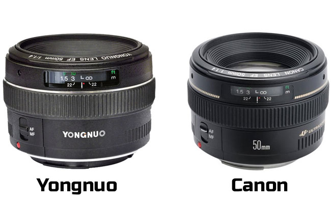 Το πολύ καλό αντίγραφο (canon) φακού Yongnuo 50mm f/1.8.